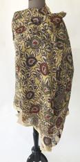 "Handmade Handpainted Natural Dyed  Kalamkari D Scarf (33"" x 88"")"