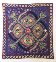 "Hand embroidered Silk Hanging Uzbekistan  (18.5""x 21"")"
