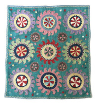 "Hand embroidered Silk Hanging G Uzbekistan  (19""x 21"")"