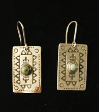 "Handmade Silver Jade Earrings Kazakhstan (1"" drop)"