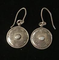 """Handmade Silver Round Earrings Kazakhstan (.75"""" drop)"""