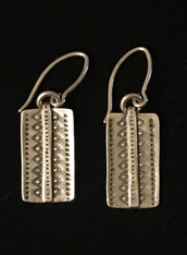 "Handmade Silver Round Earrings Kazakhstan (1"" drop)"