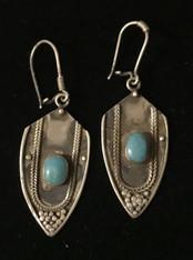 "Handmade Vintage Berber Earrings W Stone Morocco (1.5"" drop)"