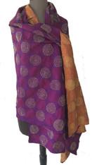 """Hand Stitched Traditonal Silk Kantha Shawl India (37"""" x 80"""")"""