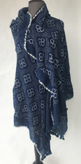 "Hand Dyed Cotton Indigo Bandhani Shawl India (36"" x 67"")"