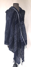 "Hand Dyed Cotton Indigo Bandhani Shawl 4 India (36"" x 76"")"
