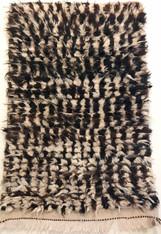 "Handwoven Natural Wool Pile Beni Ouarain Berber Rug Morocco (26"" x 42"")"