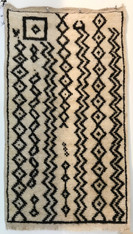 "Handwoven Natural Wool Pile Black and White Berber Rug Morocco (22"" x 39"")"