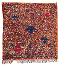 "Handwoven Natural Wool Pile  Square Rug Morocco (42"" x 42"")"