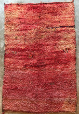 "Handwoven Handwoven and Pile Red Wool Rug Morocco (70"" x 97"")"