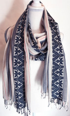 "Hand Woven Cotton Scarf Brocaded Edge India (43"" x 80"")"