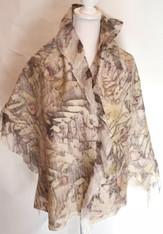 """Hand Felted Wool on Silk Eco-print Shawl Kyrgyzstan (23"""" x 74"""")"""