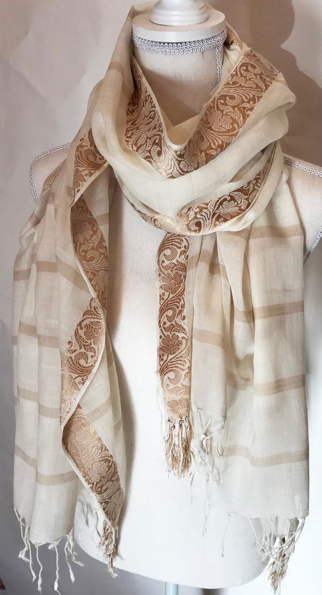 fd42a0c42 Fine Hand Woven Cotton Scarf Brocade Edge India (33
