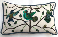 "Handwoven and Hand Embroidered Bird Pillow Greens Guatemala (8.5"" x 15"")"