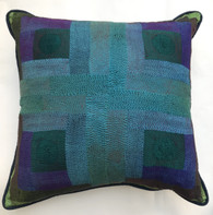 "Hand Quilted Blues Greens Patchwork Silk Pillow India (19"" x 19"")"