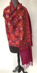 "Woolen Dense Machine Embroidered Shawl on Fuschia India (27"" x 80"")"