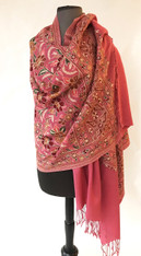 "Woolen Dense Machine Embroidered Shawl Rose India (28"" x 80"")"