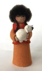 """Handmade Stitched Felt Wool Doll C Kyrgyzstan (3"""" x 7"""")"""
