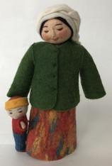 "Handmade Stitched Felt Wool Doll D Kyrgyzstan (4"" x 9"")"