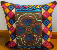 "Handmade Hooked Pillow Cover by Lesly Guatemala (16"" x16"")"