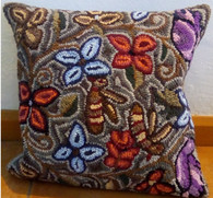 "Handmade Hooked Pillow Cover by Tomasa Guatemala (16"" x16"")"