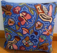 "Handmade Hooked Pillow Cover by Carmen Guatemala (16"" x16"")"