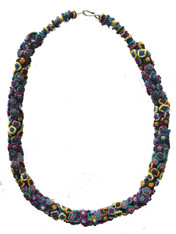 "Hand Knotted Button Multicolored A Necklace Morocco (10"" drop)"