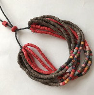 Handmade Ceramic Beaded Bracelet  Red and Brown Guatemala