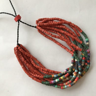 Handmade Ceramic Beaded Bracelet  Rust and Mixed Colors Guatemala