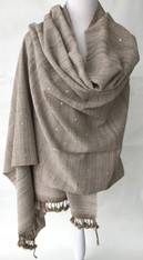 "Hand Spun Hand Woven Wool Shawl With Mirrors India (34"" x 82"")"