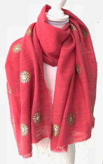 "Hand Woven Silk Shawl with Metalic Hand Embroidery India (22"" x 64"")"