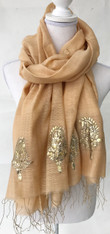 "Hand Woven Silk Shawl with Metalic Hand Embroidery India (32"" x 79"")"