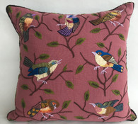 "Handwoven and Hand Embroidered Bird Pillow Dusty Rose  Guatemala (16"" x 16"")"