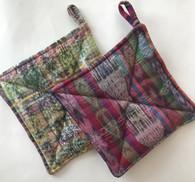 """Hand Sewn Potholders Set of 2 Mixed Pattern Traditional Cotton Ikat Cloth  Guatemala (7.5"""" x 7.5"""")"""