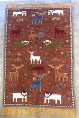 "Handwoven Hand Knotted Moroccan Animal Pile Rug (70"" x 114 "")"