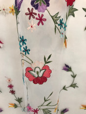 Hand Embroidered Butterfly Design on White Tulle Panel India (40 x 96)