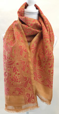 Hand Embroidered Cotton on Silk Kantha Scarf India (21 x 76)