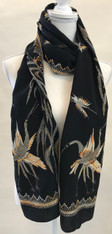 Hand Embroidered Bird Pattern Silk Scarf India (20 x 76)