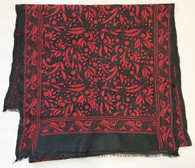 Hand Embroidered Rich Red Overall Stylized Flowers on Charcoal Silk Scarf India (20 x 75)