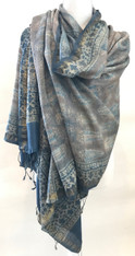 Natural Dyed Hand Block Printed Silk Scarf  India (35 x 92)