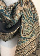 Hand Block Printed Natural Dyes Tasseled Silk Scarf 2 India (21 x 77)