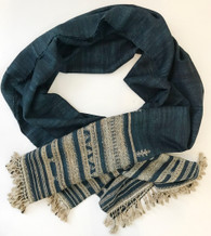 Hand Woven Silk Wool Blend Indigo Natural Linen Hand Wrapped Tassel  Scarf India ( 40 x 90)