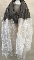 "Hand Dyed Cotton Bandhani and Stitched Shawl India (40"" x 80"")"