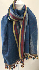 "Kantha Stitched Natural Dyed Cotton Shawl India (24"" x 78"")"