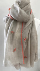 """Silk and Wool Shawl with Beaded Bees 2 India (28"""" x 78"""")"""