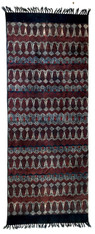 "Handmade Block Printed Natural Dyed Canvas Runner  Indigo and Red Rug India (29"" x 72"")"