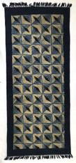 "Handmade Block Printed Natural Dyed Canvas Runner  Diamonds Rug India (30"" x 72"")"