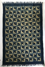 "Handmade Block Printed Natural Dyed Canvas Diamonds Rug India (48"" x 72"")"