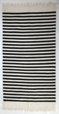 "Handwoven Wool Rug Natural Fleece Striped Colors India (36"" x70"")"