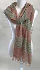 "Handwoven Organic Cotton Natural Dyed Scarf  India (27"" x 68"")"